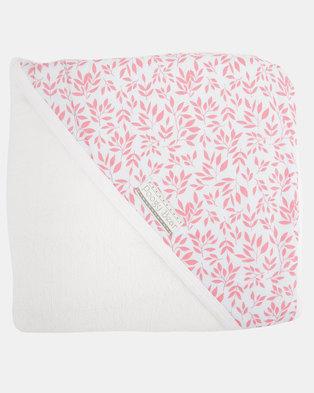 Poogy Bear Floral Hooded Towel Coral