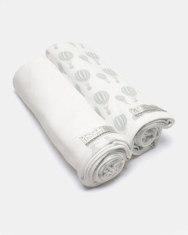 Poogy Bear Hot Air Swaddling Blanket Set Aqua