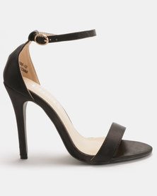 Utopia Satin Barely There Heels Black