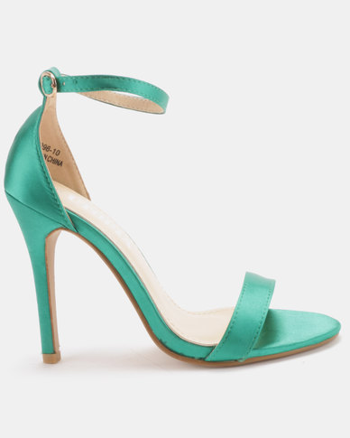 Utopia Satin Barely There Heels Green