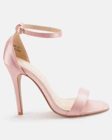 Utopia Satin Barely There Heels Soft Pink