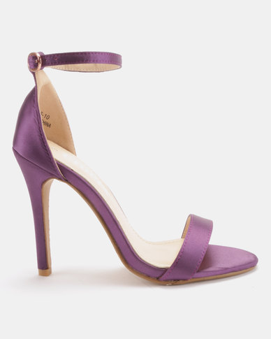 Utopia Satin Barely There Heels Purple