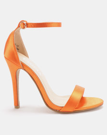 Utopia Satin Barely There Heels Orange