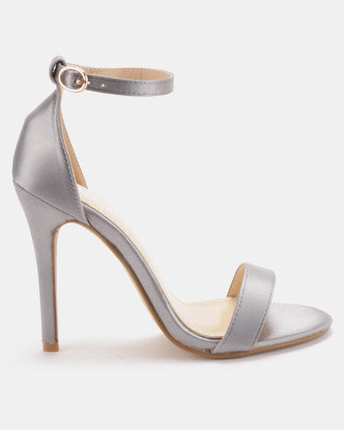 Utopia Satin Barely There Heels Silver