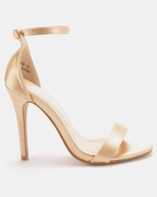 Utopia Satin Barely There Heels Gold