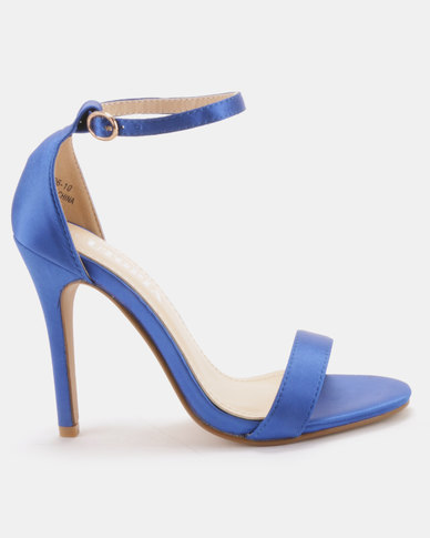 Utopia Satin Barely There Heels Blue