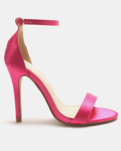 Utopia Satin Barely There Heels Dark Pink
