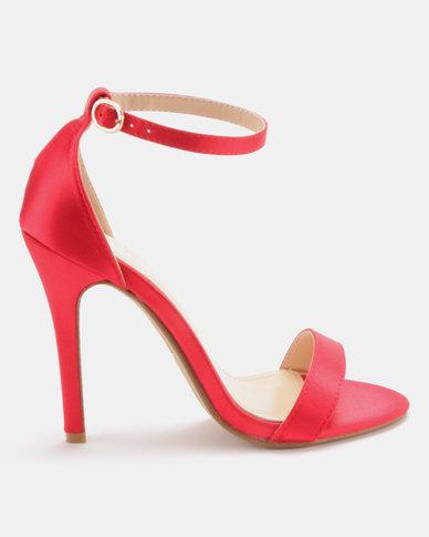 Utopia Satin Barely There Heels Red