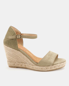 Utopia Espadrille Wedge Sandals Khaki