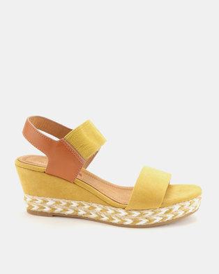 Utopia 2 Tone Espadrille Wedge Sandals Mustard