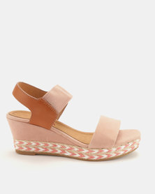 Utopia 2 Tone Espadrille Wedge Sandals Pink