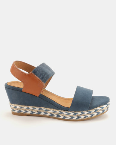 Utopia 2 Tone Espadrille Wedge Sandals Blue