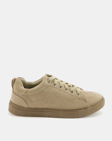 Utopia Luxe Lace Up Sneakers Khaki