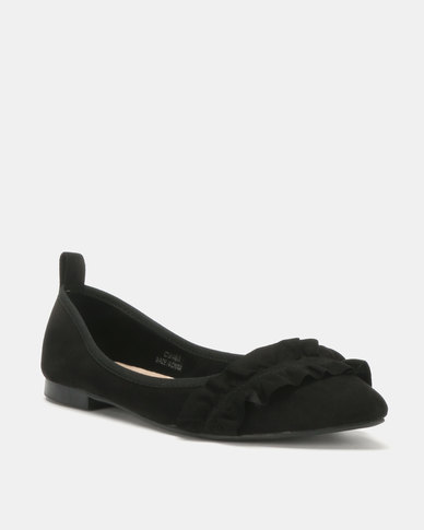 Utopia Frill Pointy Pumps Black