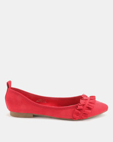 Utopia Frill Pointy Pumps Red