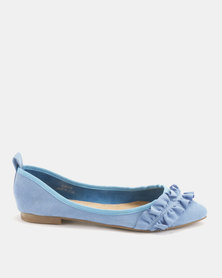 Utopia Frill Pointy Pumps Blue
