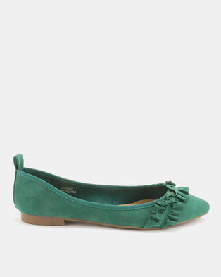 Utopia Frill Pointy Pumps Green