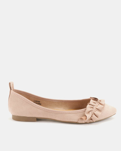 Utopia Frill Pointy Pumps Nude