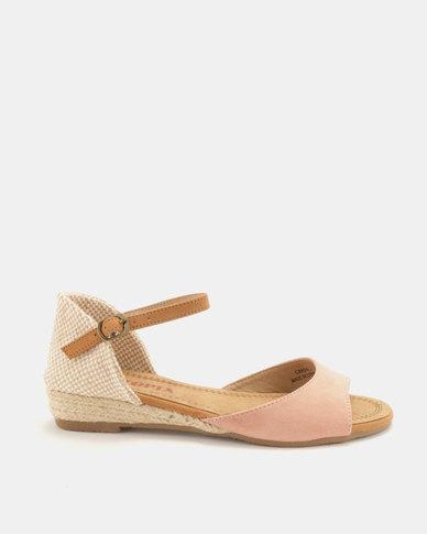 Utopia Low Wedge Espadrille Sandals Pink