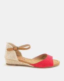 Utopia Low Wedge Espadrille Sandals Red