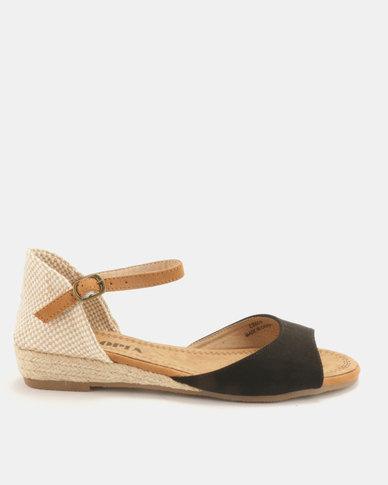 Utopia Low Wedge Espadrille Sandals Black