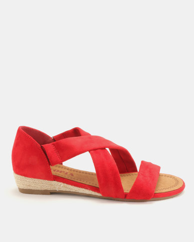 Utopia Low Wedge Cross Strap Sandals Red