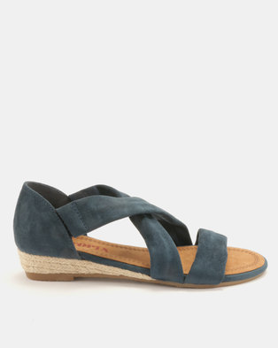 Utopia Low Wedge Cross Strap Sandals Navy