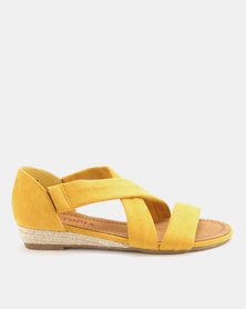 Utopia Low Wedge Cross Strap Sandals Mustard