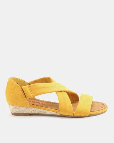Utopia Low Wedge Cross Strap Sandals Mustard