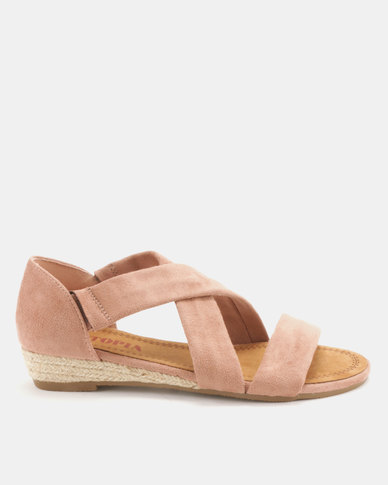 Utopia Low Wedge Cross Strap Sandals Pink