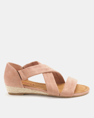 Utopia Low Wedge Cross Strap Sandals Pink