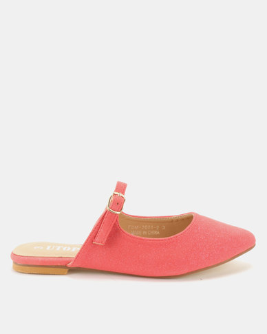 Utopia Mary Jane Flat Mules Coral