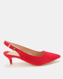 Utopia Pointy Slingback Heels Red