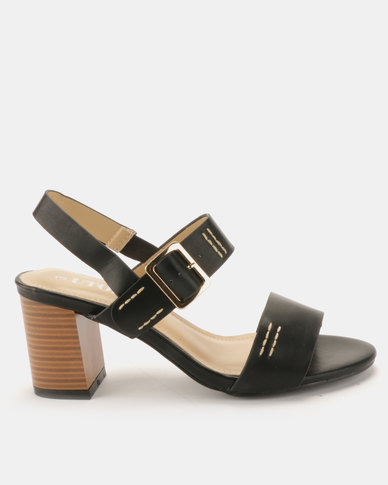 Utopia Block Heel Double Strap Sandals Black