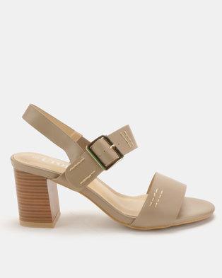 Utopia Block Heel Double Strap Sandals Taupe