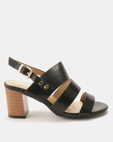 72101214b1a Utopia Block Heel Three Strap Sandals Black