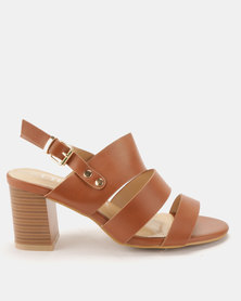 Utopia Block Heel Three Strap Sandals Tan