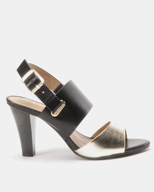 0d30293f011 Utopia Two Tone Heel Sandals Black