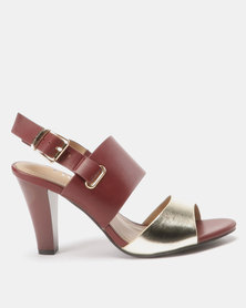 Utopia Two Tone Heel Sandals Burgundy