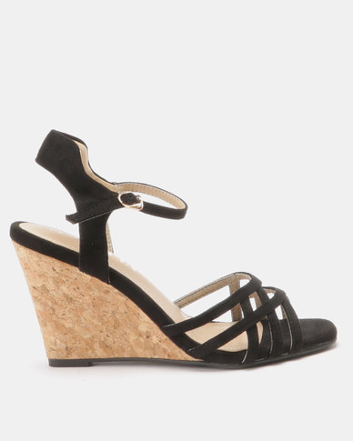 Utopia Cork Wedge Sandals Black