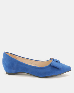 Utopia Bow Pointy Pumps Blue