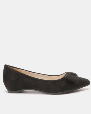 Utopia Bow Pointy Pumps Black