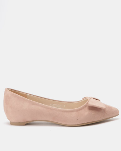 Utopia Bow Pointy Pumps Soft Pink