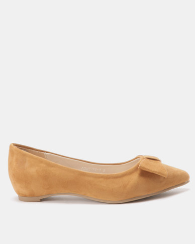 Utopia Bow Pointy Pumps Mustard