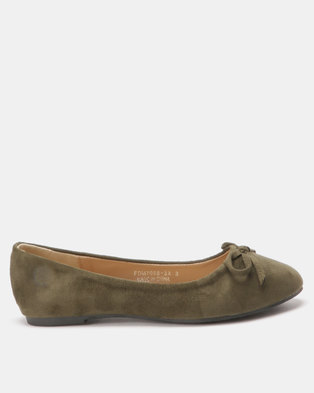 Utopia Bow Trim Pumps Olive