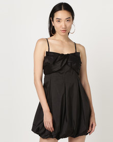 Utopia Strappy Flare Dress Black