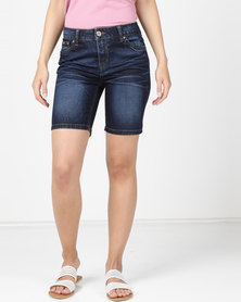 Utopia Boyfriend Denim Shorts With Turn Up Blue