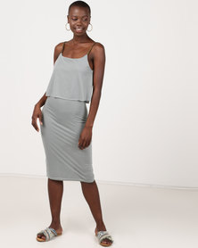 Utopia Strappy Knit Dress Grey