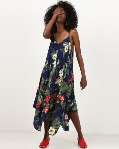 Utopia Viscose Hanky Hem Dress Navy Tropical Print