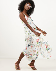 Utopia Viscose Hanky Hem Dress  White Floral Print